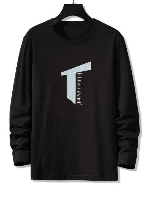Letter Geometric Print Long Sleeve Casual T-shirt - أسود S Mobile