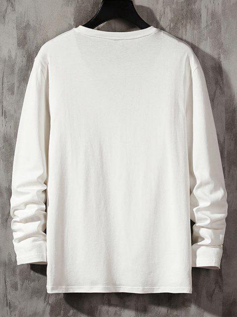 Maglietta a Righe con Maniche Lunghe e Stampa a Lettera - Bianca XS Mobile