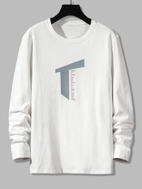 Letter Geometric Print Long Sleeve Casual T-shirt - أبيض S Mobile