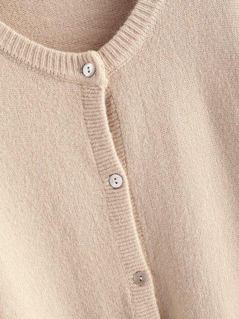 sale Crew Neck Button Up Solid Cardigan - LIGHT COFFEE ONE SIZE Mobile