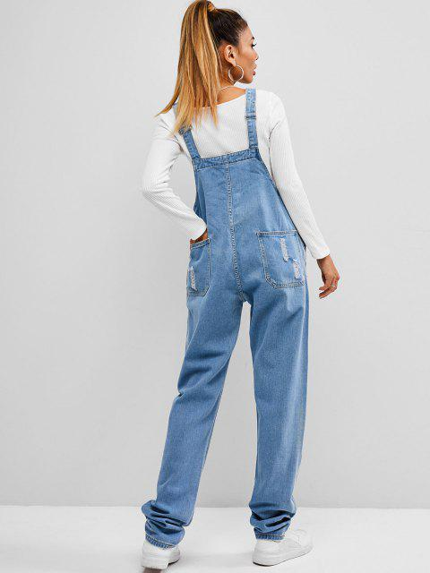 womens Ripped Denim Overall - BLUE L Mobile