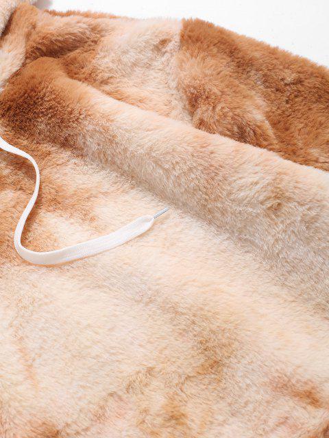 sale Kangaroo Pocket Tie Dye Pattern Faux Fur Hoodie - LIGHT COFFEE S Mobile