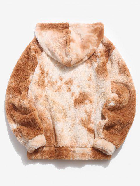 buy Kangaroo Pocket Tie Dye Pattern Faux Fur Hoodie - LIGHT COFFEE L Mobile