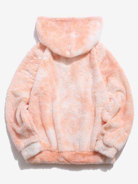 hot Kangaroo Pocket Tie Dye Pattern Faux Fur Hoodie - LIGHT ORANGE M Mobile
