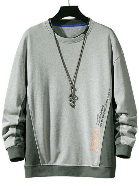 shop Color Blocking Letter Print Sweatshirt - LIGHT GRAY XL Mobile