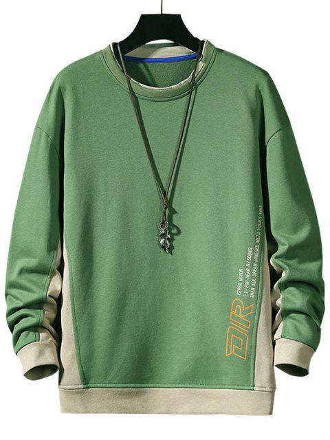 affordable Color Blocking Letter Print Sweatshirt - GREEN XL Mobile