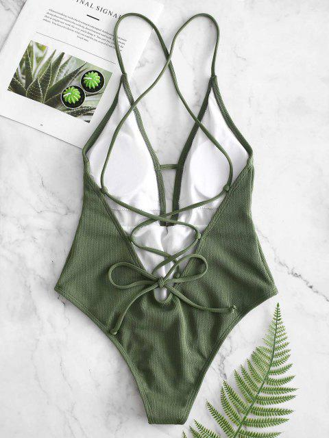 fancy ZAFUL Lace-up Crisscross Ribbed Swimsuit - CAMOUFLAGE GREEN S Mobile