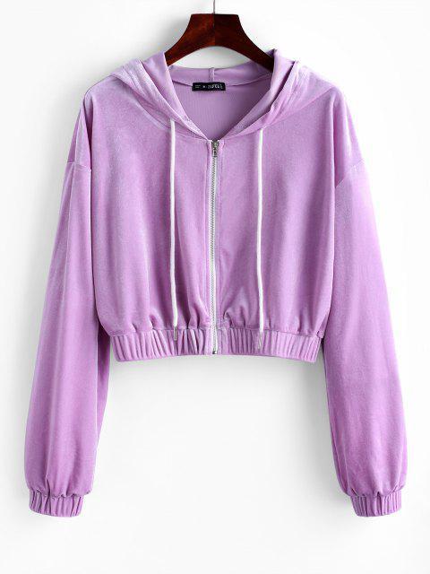 ZAFUL Hooded Velvet Zip Up Jacket - أرجواني M Mobile