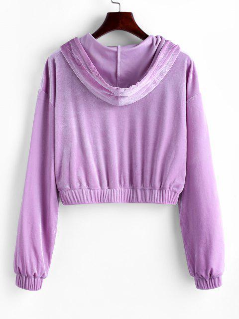 ZAFUL Hooded Velvet Zip Up Jacket - أرجواني XL Mobile