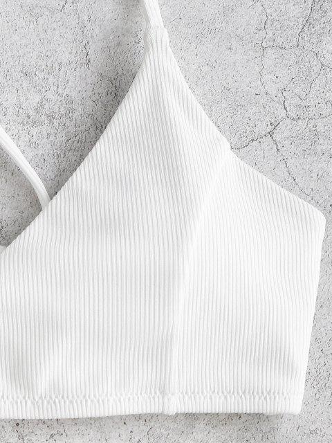 ZAFUL Maillot de Bain Bikini Côtelé Croisé à Coupe Haute à Lacets - Blanc L Mobile
