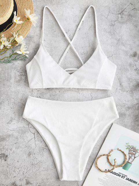 ZAFUL Maillot de Bain Bikini Côtelé Croisé à Coupe Haute à Lacets - Blanc 2XL Mobile