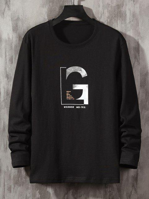 chic Letter Graphic Long Sleeve Basic T-shirt - BLACK XS Mobile