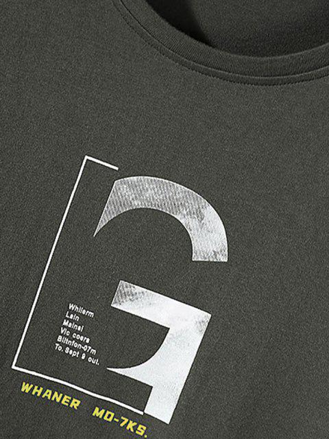 unique Letter Graphic Long Sleeve Basic T-shirt - DARK GRAY S Mobile