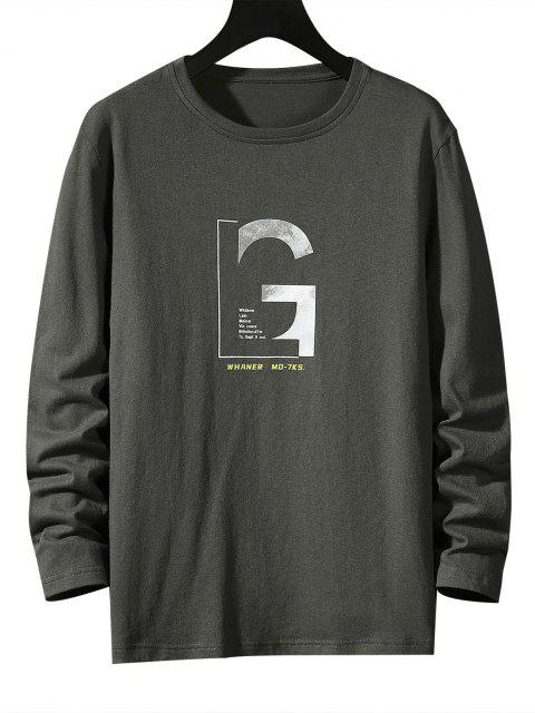 sale Letter Graphic Long Sleeve Basic T-shirt - DARK GRAY L Mobile