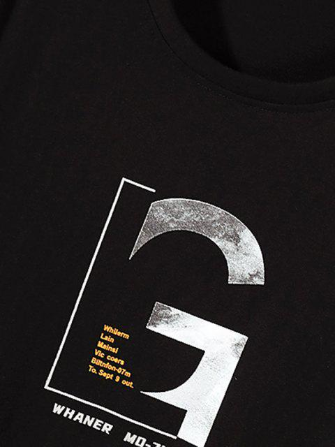 affordable Letter Graphic Long Sleeve Basic T-shirt - BLACK M Mobile