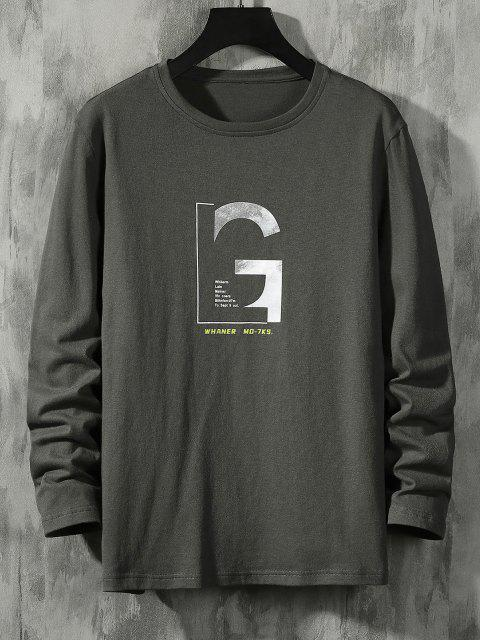 affordable Letter Graphic Long Sleeve Basic T-shirt - DARK GRAY M Mobile