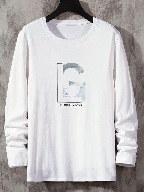 women's Letter Graphic Long Sleeve Basic T-shirt - WHITE M Mobile