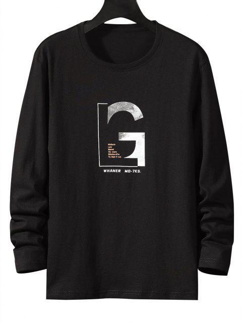 shops Letter Graphic Long Sleeve Basic T-shirt - BLACK S Mobile