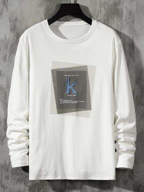 womens Striped K Letter Geometric Pattern Basic T-shirt - WHITE M Mobile