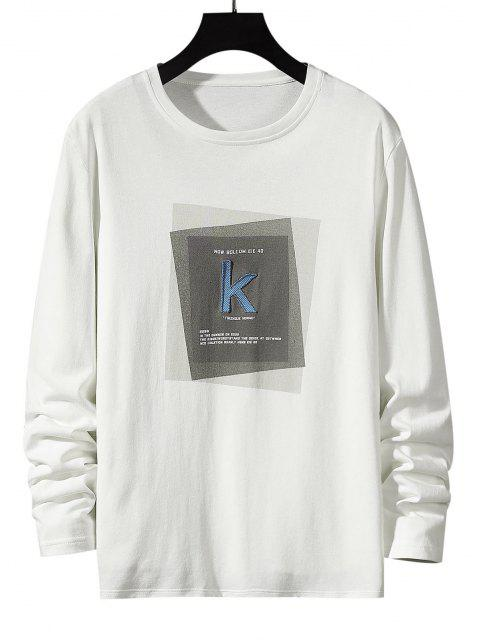 Striped K Letter Geometric Pattern Basic T-shirt - أبيض M Mobile