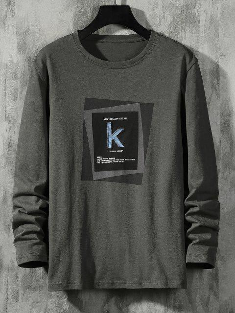 women's Striped K Letter Geometric Pattern Basic T-shirt - DARK GRAY XS Mobile