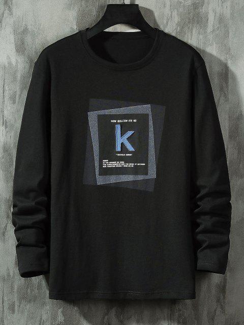 online Striped K Letter Geometric Pattern Basic T-shirt - BLACK S Mobile