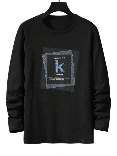Maglietta a Righe con Motivo Geometrico a Lettera e Fibbia - Nero M Mobile
