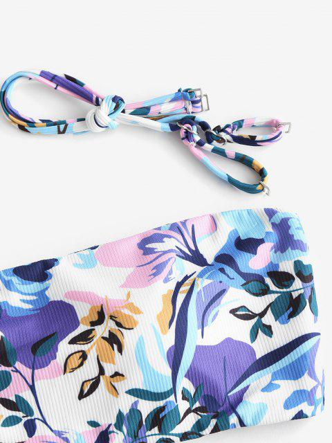 Costume da Bagno Bikini Floreale a Costine a Gamba Alta di ZAFUL - Multi Colori S Mobile