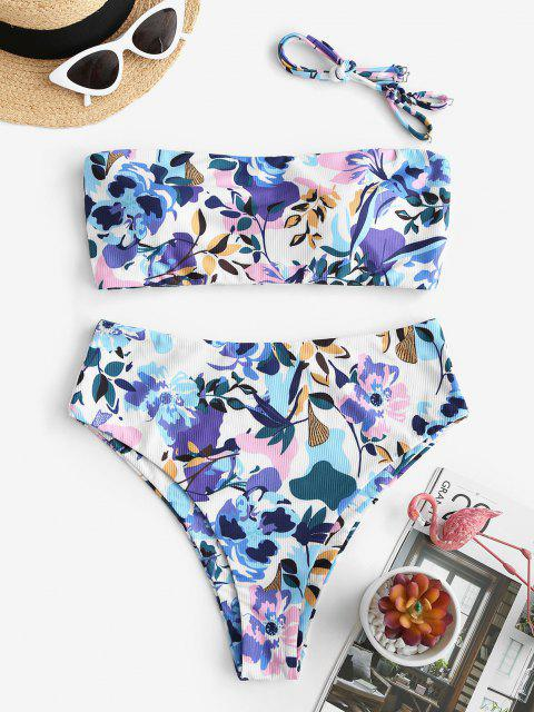 affordable ZAFUL Ribbed Flower Print High Leg Bikini Swimwear - MULTI M Mobile