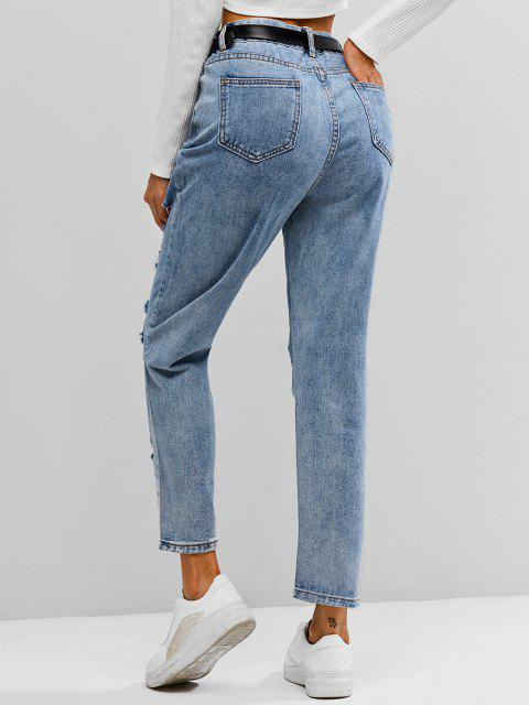 women's ZAFUL Distressed Ripped Jeans - LIGHT BLUE XL Mobile