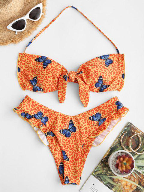 new ZAFUL Leopard Butterfly Print Convertible Ruffle Bikini Swimwear - LIGHT YELLOW S Mobile