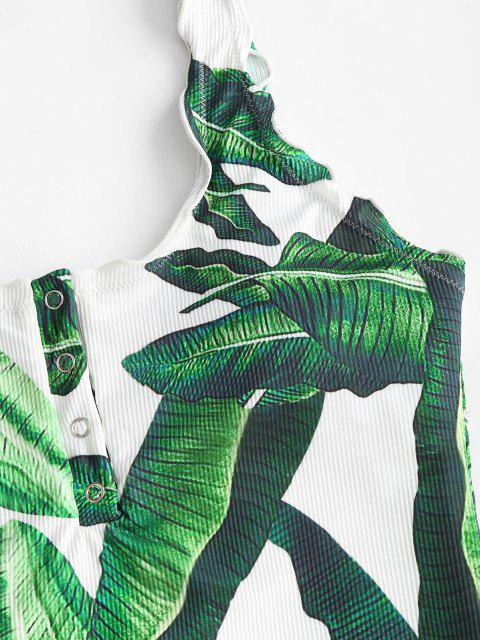 latest ZAFUL Palm Ribbed Snap Button Backless One-piece Swimsuit - DEEP GREEN M Mobile