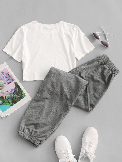 new Butterfly Graphic Two Piece Jogger Pants Set - DARK GRAY S Mobile