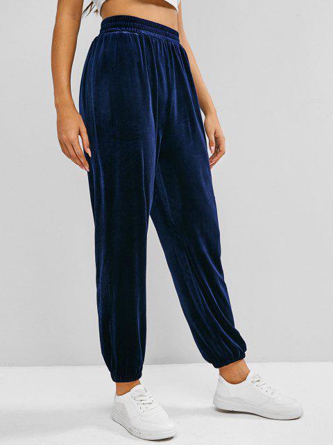 shop ZAFUL Beam Feet Velvet High Waisted Pants - BLUE XL Mobile