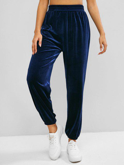 women's ZAFUL Beam Feet Velvet High Waisted Pants - BLUE M Mobile