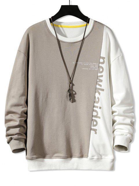 online Colorblock Panel Letter Print Sweatshirt - LIGHT COFFEE M Mobile
