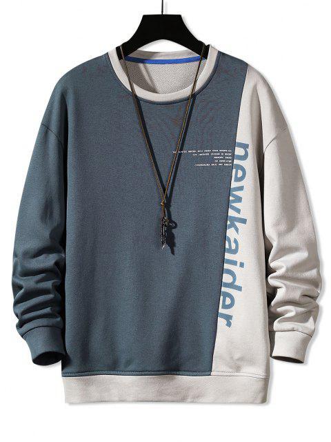 shop Colorblock Panel Letter Print Sweatshirt - MIST BLUE M Mobile
