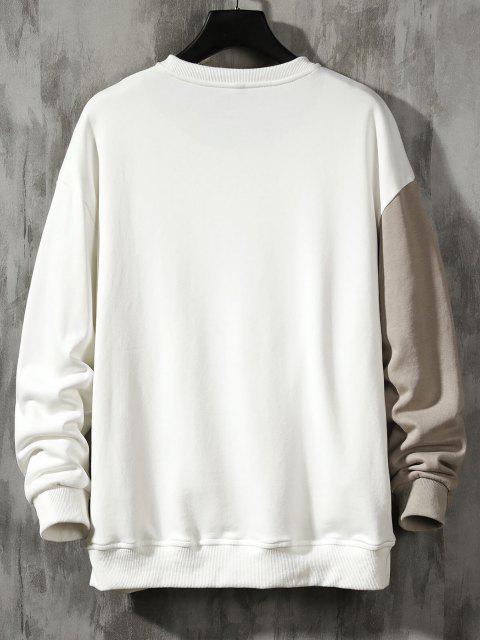 shops Colorblock Panel Letter Print Sweatshirt - LIGHT COFFEE XS Mobile