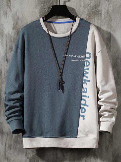 chic Colorblock Panel Letter Print Sweatshirt - MIST BLUE XL Mobile