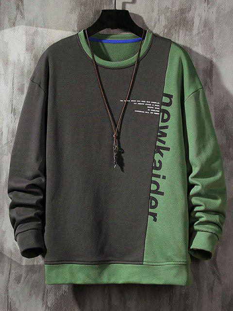 trendy Colorblock Panel Letter Print Sweatshirt - DARK GRAY S Mobile
