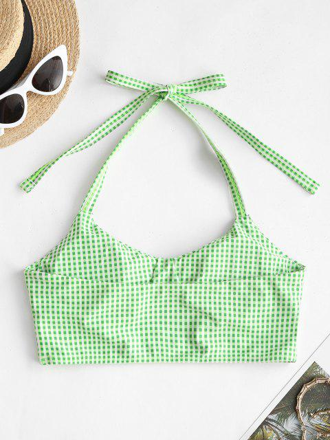 ZAFUL Gingham Halter Padded Swim Top - اخضر فاتح M Mobile