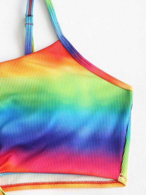 ZAFUL Tankini de Cintura Alta con Nudo y Nudo - Multicolor L Mobile