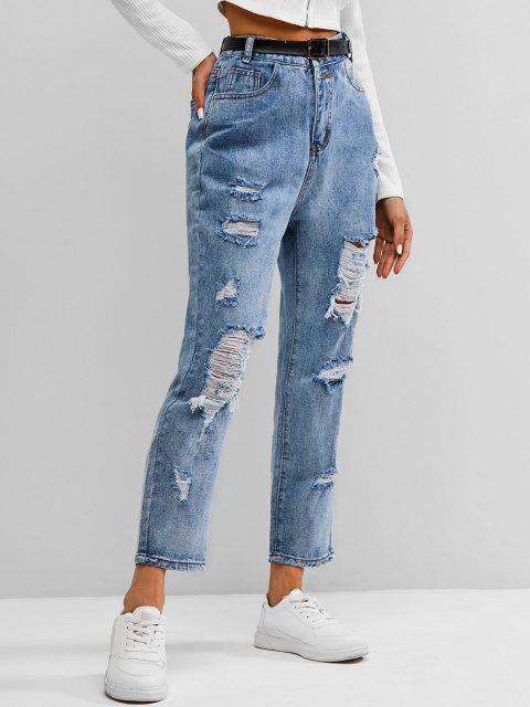 outfits ZAFUL Distressed Ripped Jeans - LIGHT BLUE S Mobile