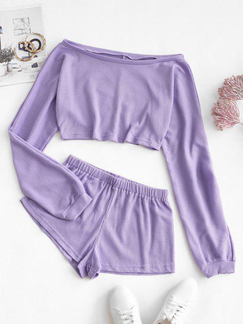 shop Textured Off Shoulder Two Piece Shorts Set - LIGHT PURPLE L Mobile