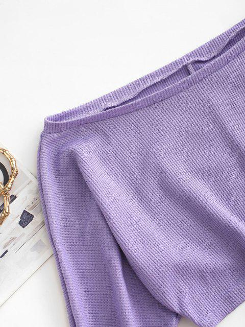 latest Textured Off Shoulder Two Piece Shorts Set - LIGHT PURPLE S Mobile