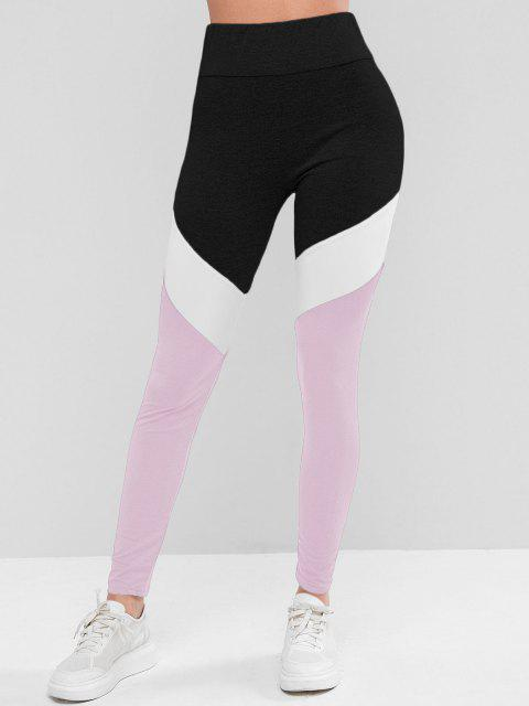 women's Colorblock High Waist Sports Leggings - LIGHT PINK L Mobile