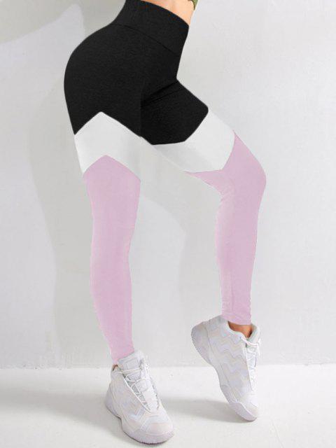 Bloco de Cores Cintura Alta Leggings Esportivas - Luz rosa M Mobile