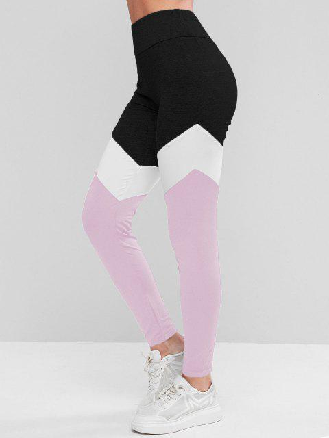 latest Colorblock High Waist Sports Leggings - LIGHT PINK S Mobile