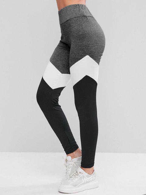 Leggings Deportivos de Cintura Alta de Color Bloque - Gris S Mobile
