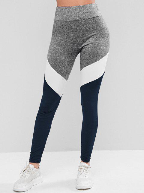 outfit Colorblock High Waist Sports Leggings - DEEP BLUE M Mobile